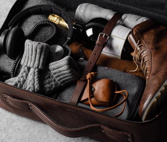 Bolsa Elegante de Couro Com Forro de Lã Incrível e Luxuoso - HARDGRAFT CARRY ON SUITCASE - Imagem - 2