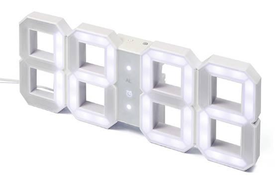 RELÓGIO DIGITAL DE PAREDE RETRO - WHITE & WHITE LED CLOCK - Imagem - 1