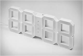 RELÓGIO DIGITAL DE PAREDE RETRO - WHITE & WHITE LED CLOCK - Imagem - 3