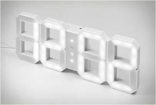 RELÓGIO DIGITAL DE PAREDE RETRO - WHITE & WHITE LED CLOCK - Imagem - 4