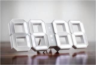 RELÓGIO DIGITAL DE PAREDE RETRO - WHITE & WHITE LED CLOCK - Imagem - 5